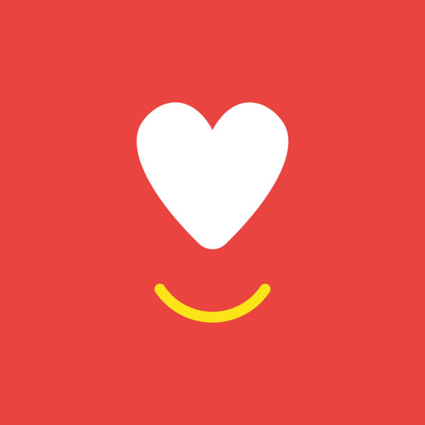 Vector icon concept of heart with smiling mouth on red background vector art illustration