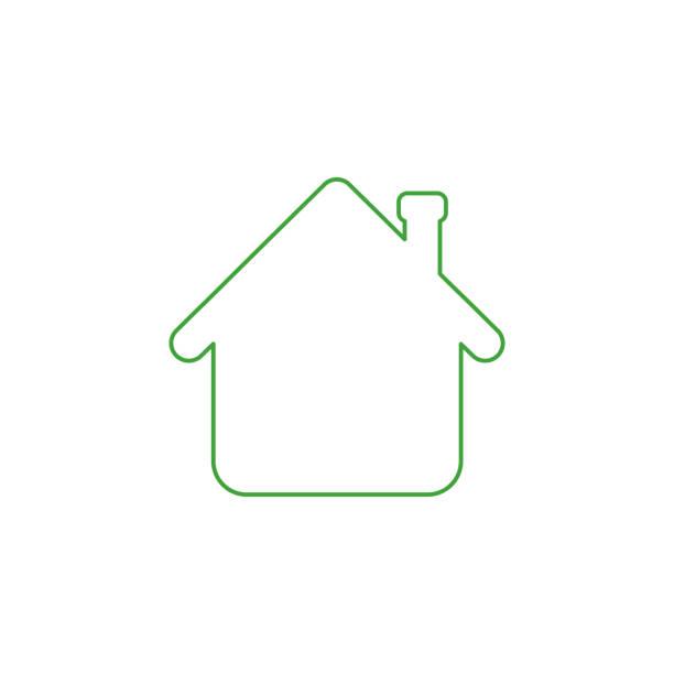 Vektor-Symbol-Konzept des Hauspfeils nach oben. Farbumrisse. – Vektorgrafik