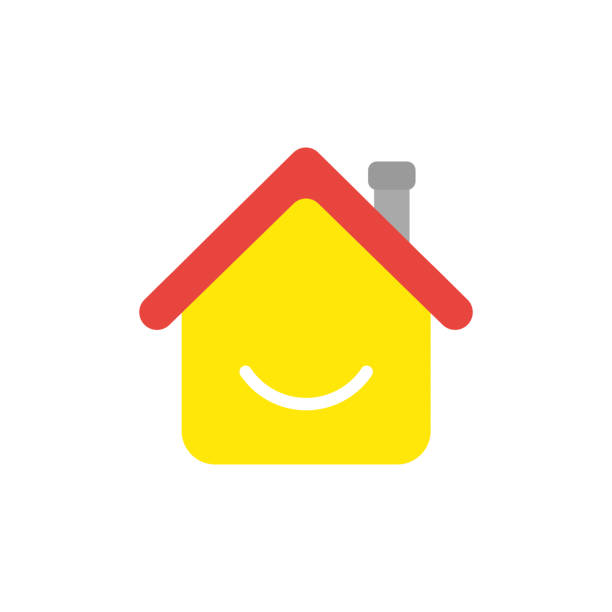 Vector icon concept of house with smiling mouth vector art illustration