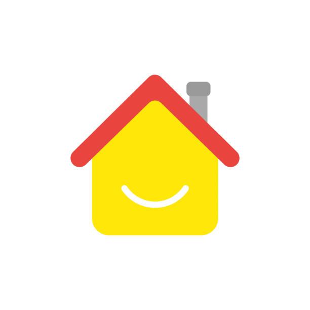 Vector Icon Konzept des Hauses mit lächelndem Mund – Vektorgrafik