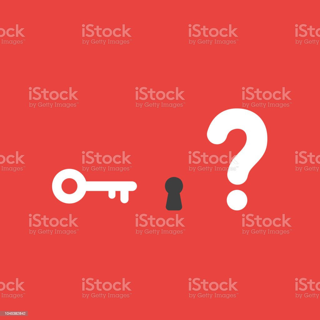 Vector icon concept of key and keyhole with question mark on red background vector art illustration