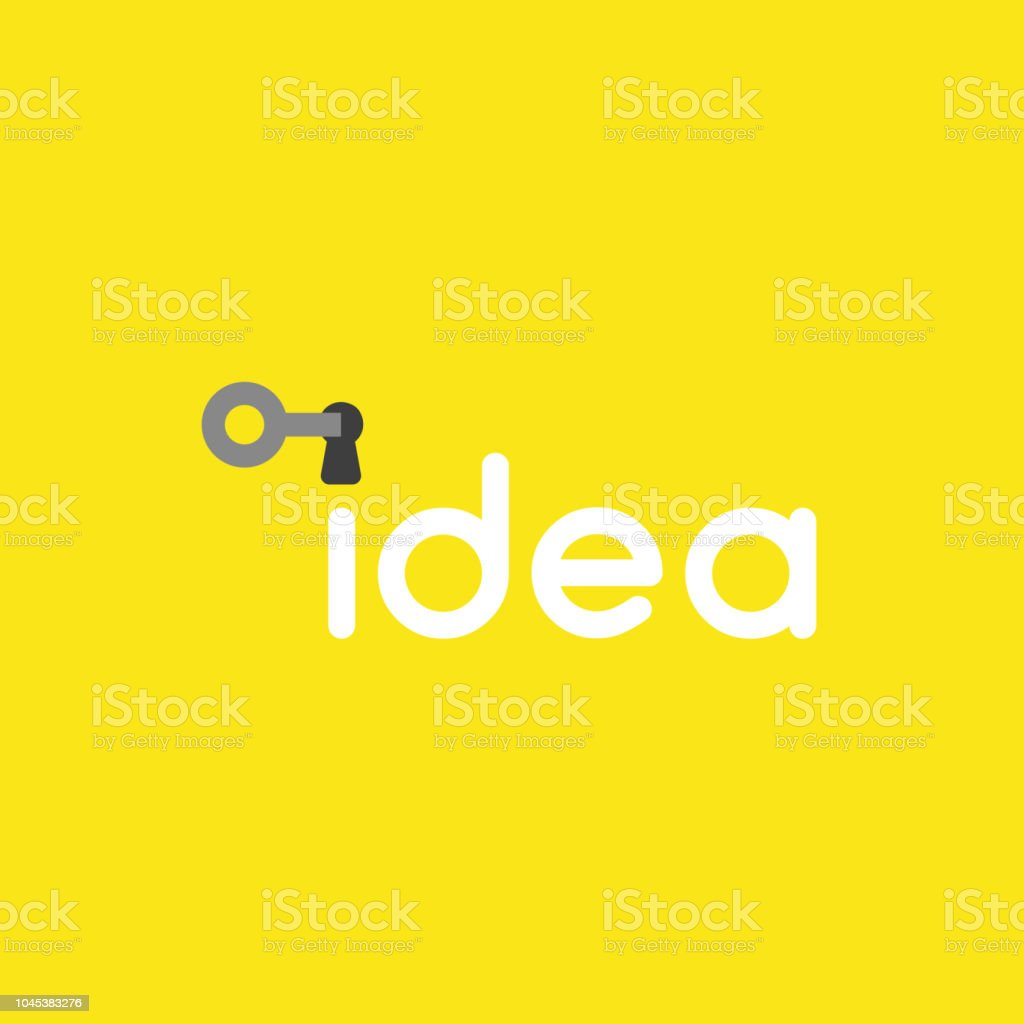 Vector icon concept of key into idea word keyhole on yellow background vector art illustration