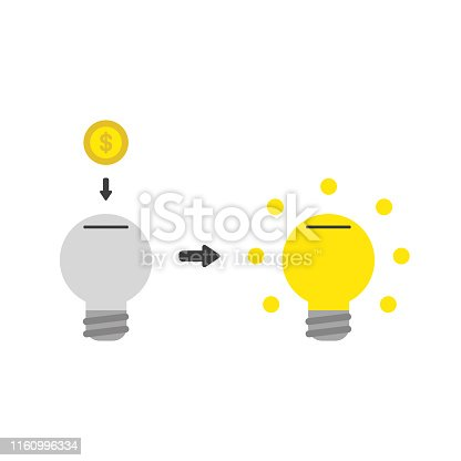 Vector illustration icon concept of light bulb moneybox hole with dollar coin and glowing.