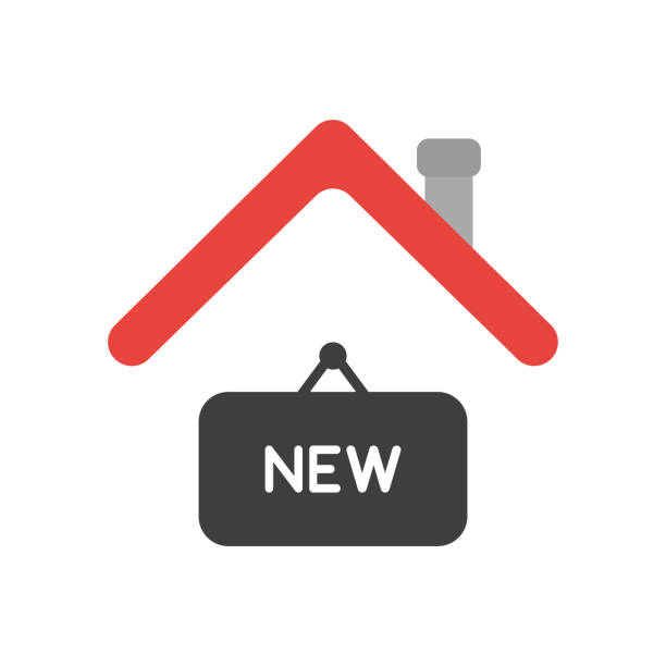 Vector icon concept of new hanging sign under house roof vector art illustration
