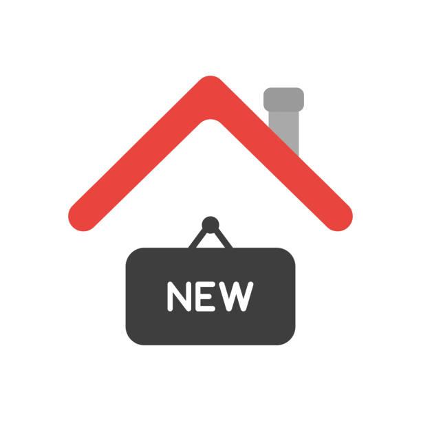 Vektor-Ikonenkonzept des neuen Hängeschildes unter Hausdach – Vektorgrafik