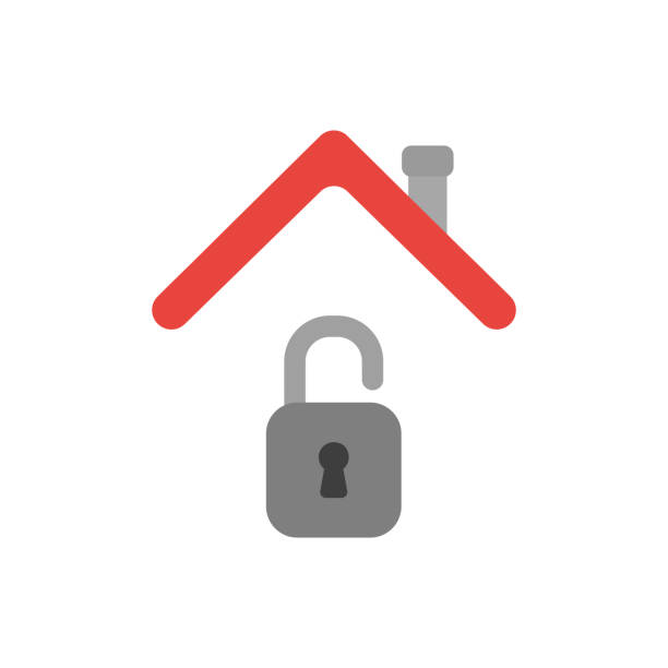 Vector icon concept of opened padlock under house roof vector art illustration