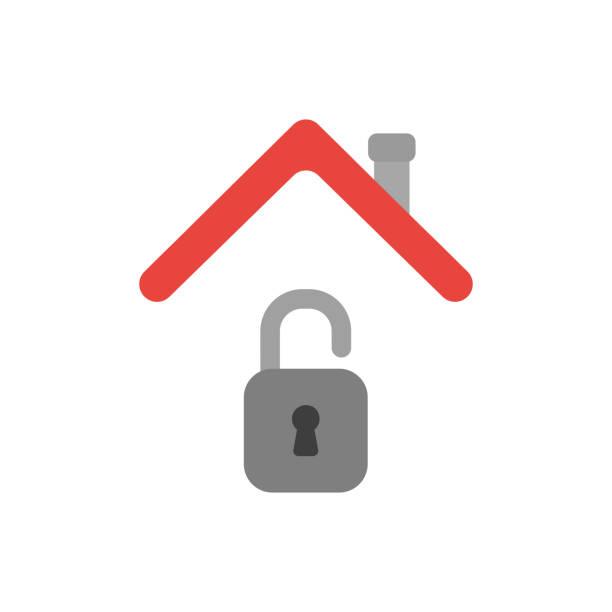 Vektor-Icon-Konzept des geöffneten Vorhängeschlosses unter Hausdach – Vektorgrafik