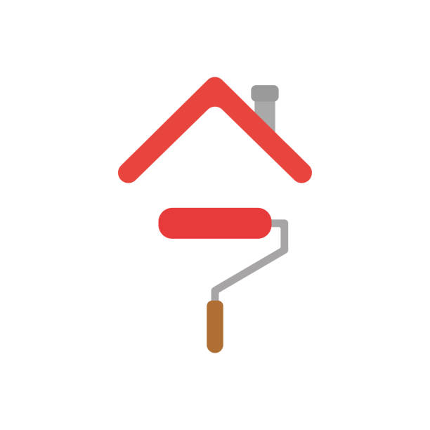 Vector icon concept of paint roller brush under house roof Vector illustration concept of red paint roller brush icon under house roof interior designer stock illustrations