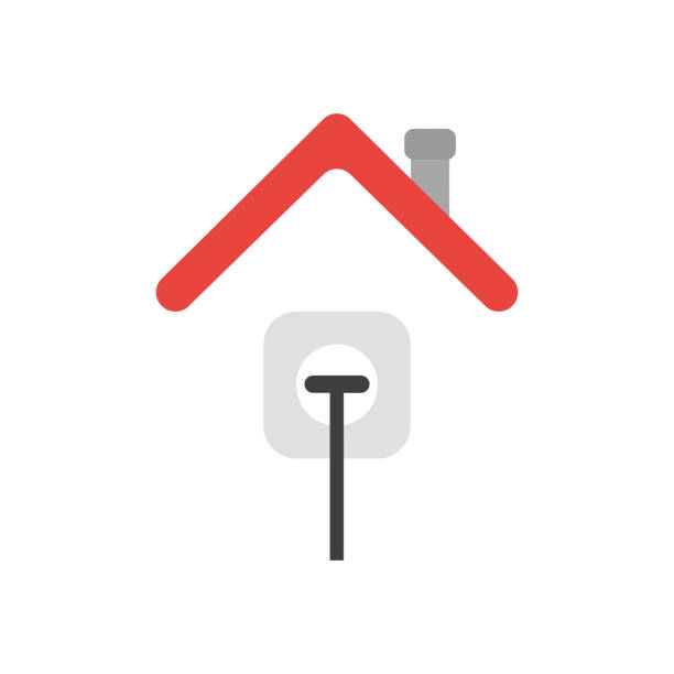 Vector icon concept of plug plugged into outlet under house roof vector art illustration