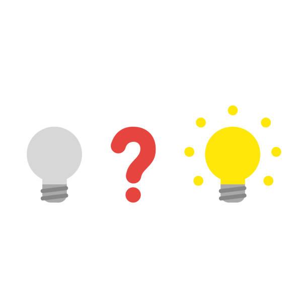 Vektor-Icon-Konzept des Fragezeichens zwischen grauen und glühenden Glühbirnen – Vektorgrafik
