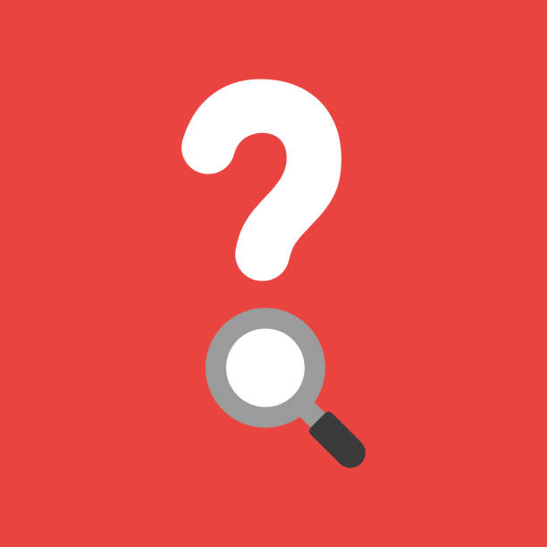 Vector icon concept of question mark with magnifying glass on red background vector art illustration