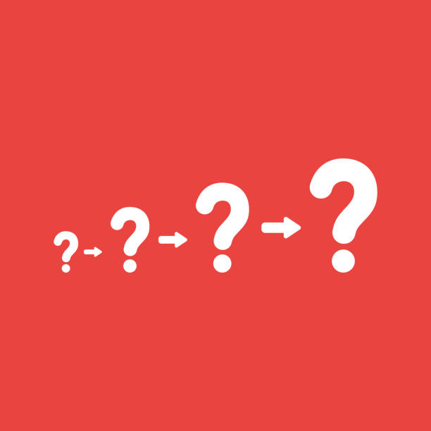 Vector icon concept of question marks growing on red background vector art illustration