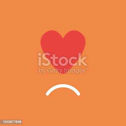 Flat vector icon concept of red heart with sulking mouth on orange background.