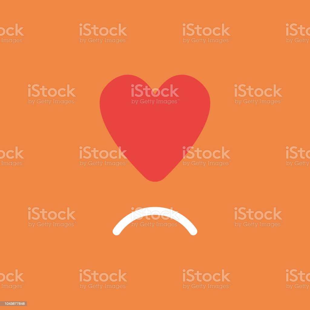 Vector icon concept of red heart with sulking mouth on orange background vector art illustration