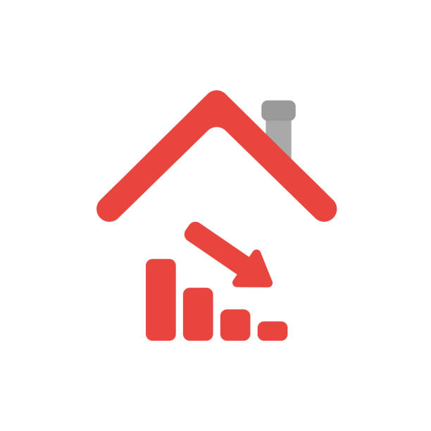 Vector icon concept of sales bar graph moving down under house roof vector art illustration