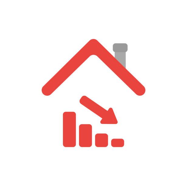 Vector Icon Konzept der Verkaufsbalke Umzug unter Hausdach – Vektorgrafik