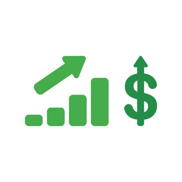 Vektorsymbol-Konzept des Verkaufsbalkendiagramms mit Dollar-Symbol nach oben – Vektorgrafik