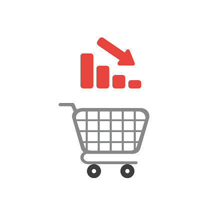 Vector icon concept of shopping cart with bar graph moving down