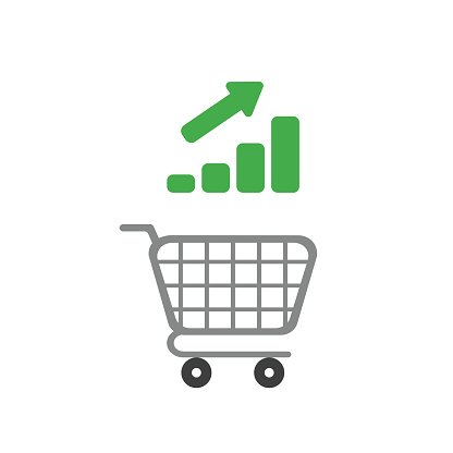 Vector icon concept of shopping cart with bar graph moving up
