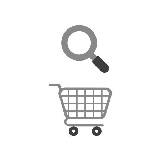 Vektor-Icon-Konzept des Einkaufswagens mit Lupe – Vektorgrafik