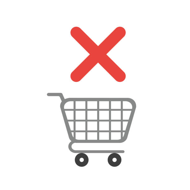 Vektorsymbolkonzept des Warenkorbs mit x-Marke – Vektorgrafik