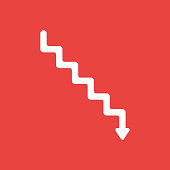 Vector icon concept of stairs with arrow moving down on red background