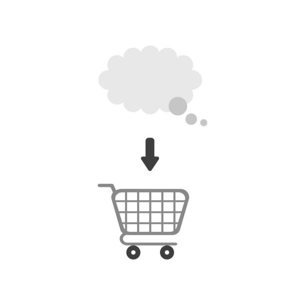 Vektor-Ikone-Konzept der Gedankenblase im Warenkorb – Vektorgrafik