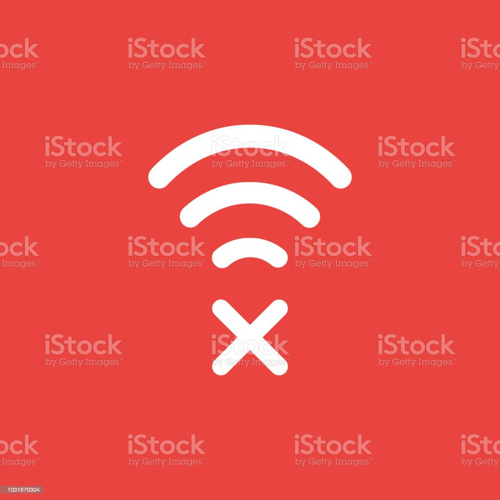 Vector icon concept of wireless wifi symbol with x mark on red background vector art illustration