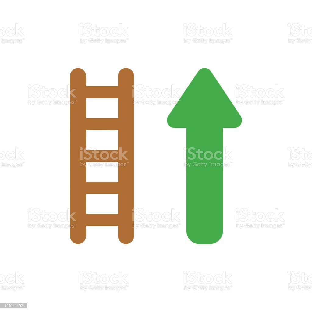 Vector illustration icon concept of wooden ladder with arrow moving...