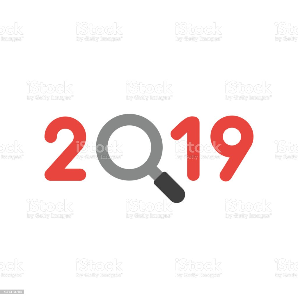 Vector icon concept of year of 2018 with magnifying glass vector art illustration