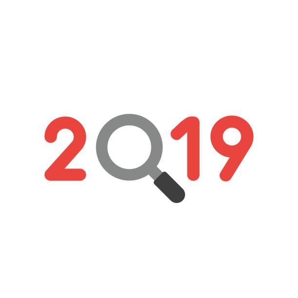 Vektor-Symbol-Konzept des Jahres 2018 mit Lupe – Vektorgrafik