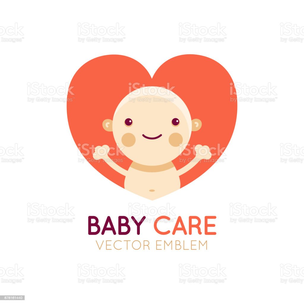 Vector icon design element and emblem - baby care and love concept - happy newborn cartoon illustration vector art illustration