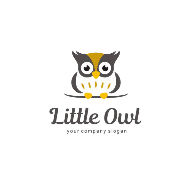 vector icon, design element. little owl sign - sowa stock illustrations