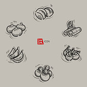Vector illustration sketch. Hand drawn style. Included Bun, Shrimp dumpling, Steam bread, Spring rolls and  Dumpling.