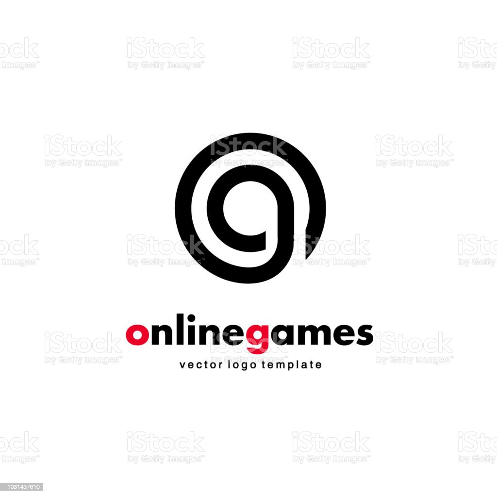 vector icon design online game letter g and letter o linked circle