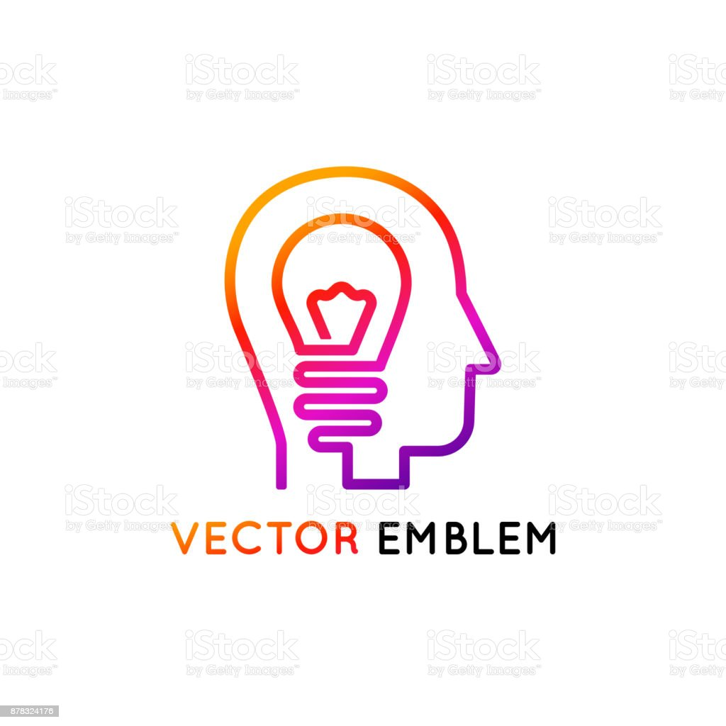 Vector icon design template and emblem made with one line - creativity concept vector art illustration