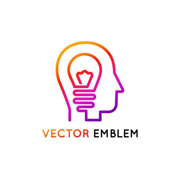 vektor icon design-vorlage und emblem gemacht mit einer zeile - kreativität-konzept - kopfleuchten stock-grafiken, -clipart, -cartoons und -symbole