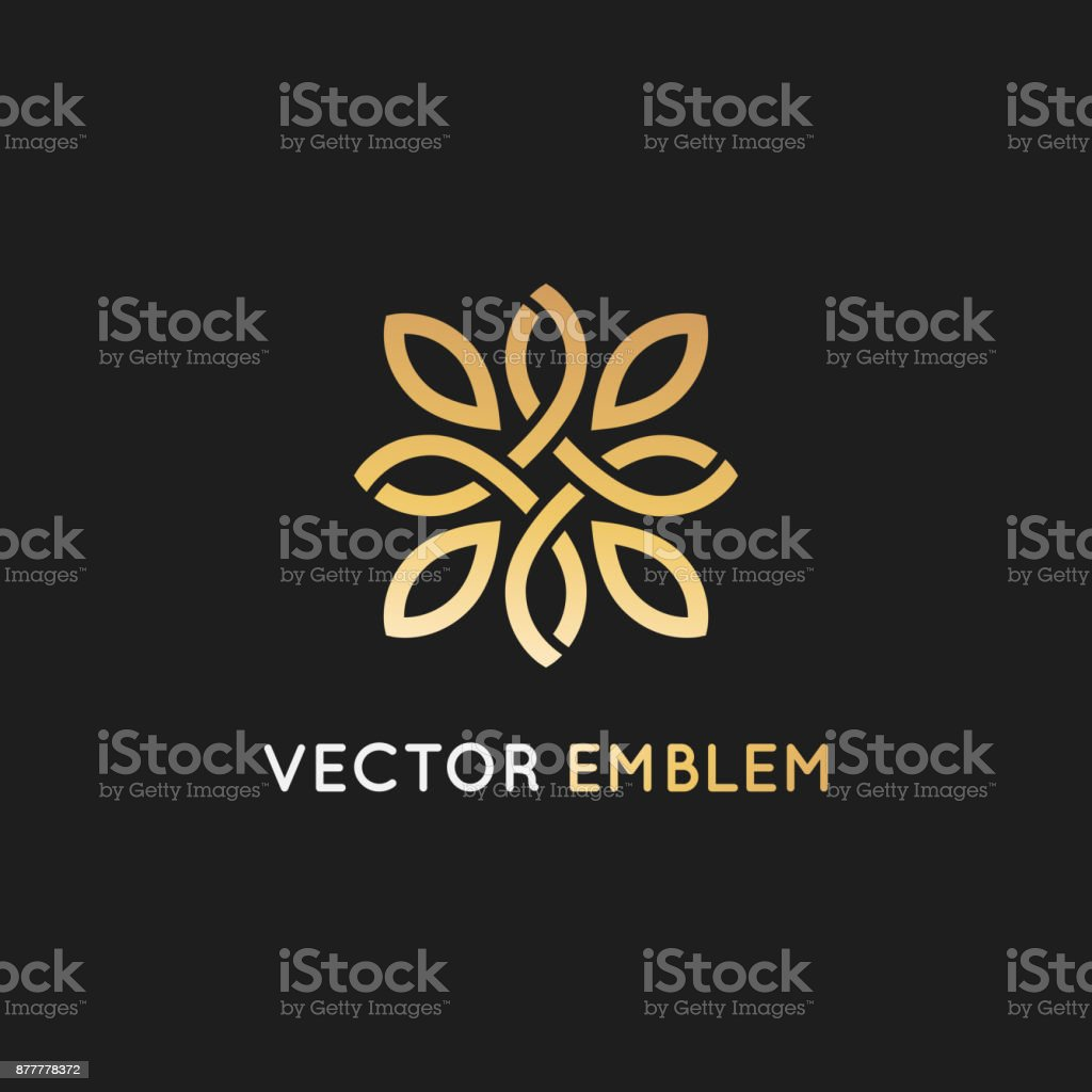 Vector icon design template and emblem  with petals and lines - luxury beauty spa vector art illustration
