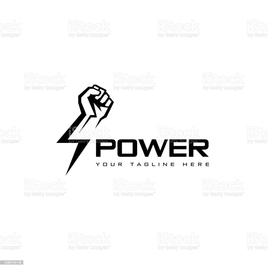 Vector icon design template. Fist male hand, proletarian protest symbol. Power sign vector art illustration
