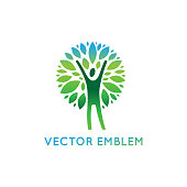 Vector icon design template - healthy and natural life concept - human figure with green leaves