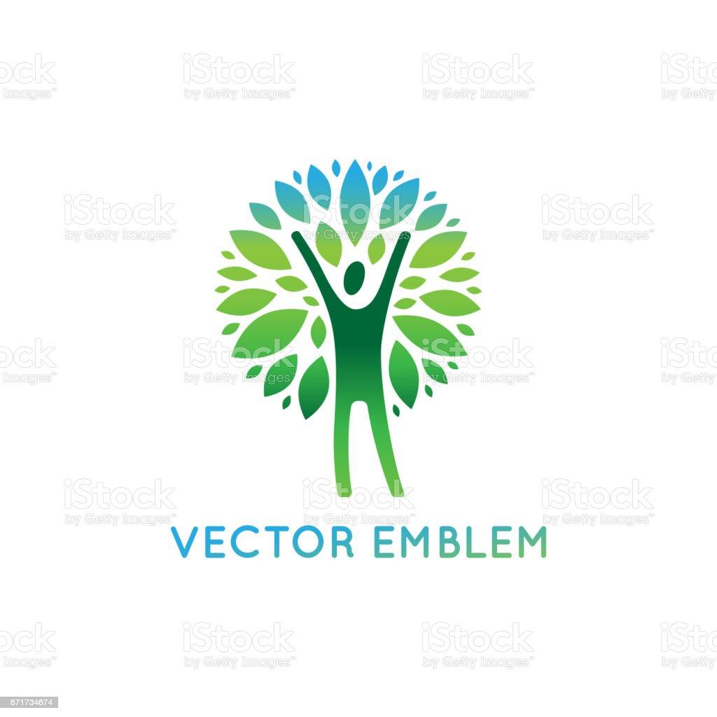 Plantilla de diseño de icono de vector - vida sana y natural - ilustración de arte vectorial