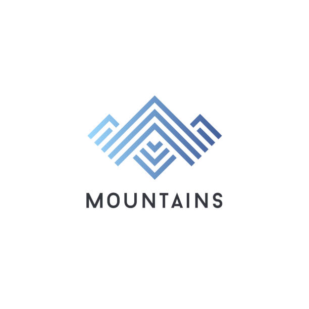 Vector icon design template. Mountains abstract concept Vector icon design template. Mountains abstract concept mountain top stock illustrations