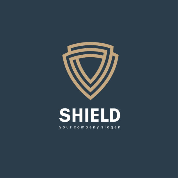 Vector icon design template. Shield sign Vector icon design template. Shield sign defend stock illustrations