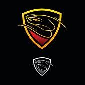 Vector icon,  design viper shield on the black background. Vector illustration Eps.8 Eps.10