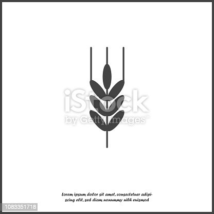 Vector icon ears of wheat, cereal. Ear of oats. Rue ears icon on white isolated background.Layers grouped for easy editing illustration. For your design.