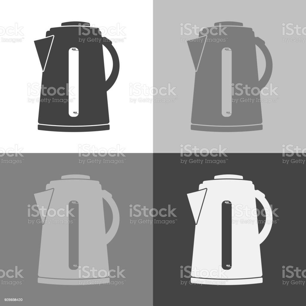 Vektor Symbol Wasserkocher Vektor Icon Auf Weißgrauschwarz Farbe ...