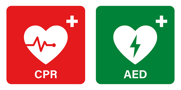 AED vector icon. Emergency defibrillator sign or icon. AED AID CPR. Vector green red isolated icon CPR.