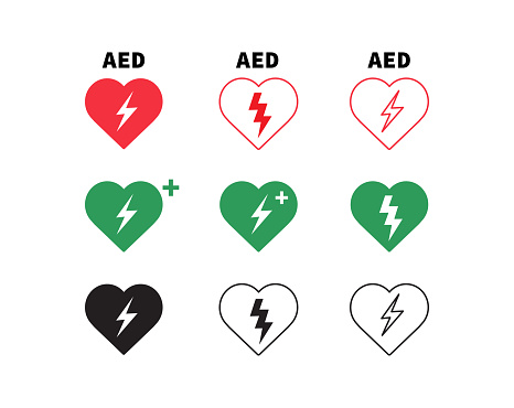 AED vector icon. Emergency defibrillator sign. Set of heart electricity. Vector illustration.