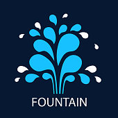 Vector icon fountain. Sign design template fountain and drop. Blue fountain on dark background. Abstract original simple illustration for print, web.