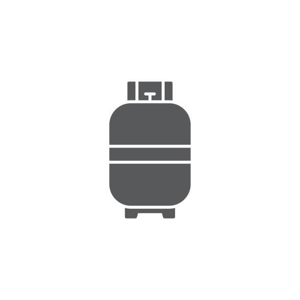 stockillustraties, clipart, cartoons en iconen met vector icon gas cilinder voor koken geïsoleerd op witte achtergrond - voorraadbus